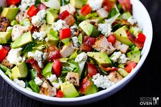 Chicken Bacon & Avocado Chopped Salad Recipe | gimmesomeoven.com I will switch out the bacon for turkey bacon ans switch out the cheese.