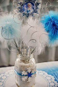 pote de vidro frozen centro de mesa