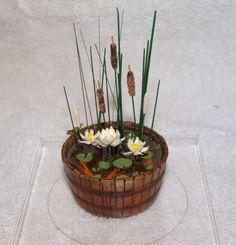 dollhouse miniature pond | DOLLHOUSE MINIATURES BARREL KOI POND W/ CATTAILS, LILLIES, and DISPLAY ...