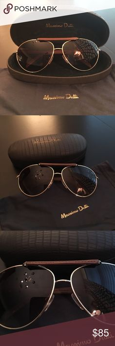"""🕶 Massimo Dutti Aviator Sunglasses 😎 LIKE NEW!!! Beautiful Massimo Dutti Gold frame Sunglasses. Lenses with UV protection. Leather arms. Frame width 5 3/8. Lenses hight 2"""" / width 2.5"""". Comes with a soft material pouch and a leather protective case embossed with brand emblem. Used gently. Excellent Condition!! Like New!!!✨😎 Massimo Dutti Accessories Sunglasses"""