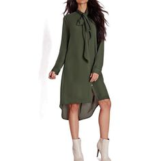 2017 New Style Casual Loose Women Bow Tie Shirts Dress Autumn Female Long  Sleeve Solid Color Dresses Vestidos Plus Size GV436 685537a06e64