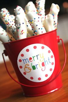 Very cute bucket. These are always at the Target Dollar Spot for every season/holiday. This makes aCute Gift - Holiday gift for neighbors, girl scout troop, drop-in visitors....would be a cute table decoration or centerpiece, too......homemade Chocolate dipped Pretzels