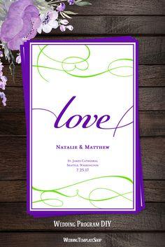 Purple & Green Wedding Program, DIY Printable Templates, You Edit & Print, It's Love Design Series.
