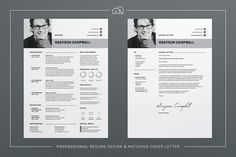 Resume/CV - Grayson by bilmaw creative on @creativemarket A jam-packed super clean design, including charts, skill bars and stats, 'Grayson' offers a meticulously crafted layout to suit any profession. Also included is a matching cover letter (including sample letter) for a complete presentation.