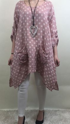 NEW ITALIAN LAGENLOOK POLKA DOT PLUS SIZE LINEN FLOWER POCKET TUNIC PINK C133 #Madeinitaly #Tunic