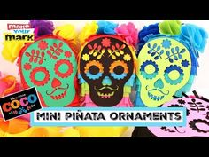 (5) Coco-Inspired Mini Piñata Ornaments - YouTube Pixar Movies, Cardboard Crafts, Make Your Mark, Decor Crafts, Party Themes, Upcycle, Best Gifts, Ornaments, Inspired