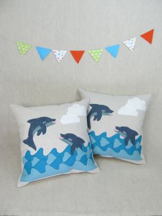 Decorative Pillow  Dolphins  MADE TO ORDER by violastudio on Etsy. , via Etsy.
