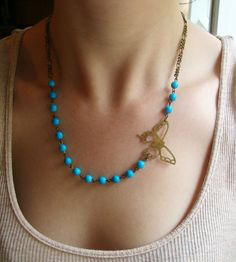Butterfly Necklace in Antiqued Brass with Turquoise Beads #jewellery #jewelry