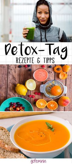 Detox Day: The Turbo Fasting cure, to feel good again quickly! Get fit again & feel slim with a detox day – it will get you back on track! Detox Diet Drinks, Natural Detox Drinks, Detox Diet Plan, Smoothie Detox, Fat Burning Detox Drinks, Healthy Detox, Healthy Life, Easy Detox, Simple Detox