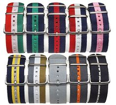 Montego Army Inspired Nylon Watch Straps 20mm Replacement Watch Band in Various Colors  BlackYellowGrey >>> You can get more details by clicking on the image.