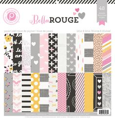 Pink Paislee Bella Rouge is a glamorous, playful, girly collection & invites you to shine bright with 12x12 papers in soft pink, butter yellow & silver grey