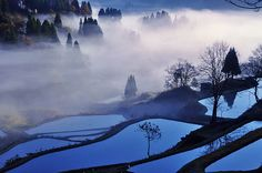 "Japanese landscape Gamo Matsushiro village of Niigata / Photo ""Pink and Blue"" by Yunosuke Ishikawa Niigata, Surreal Photos, Go To Japan, Japanese Landscape, Beautiful Places In The World, Heaven On Earth, Time Travel, Trip Planning, Amazing Photography"