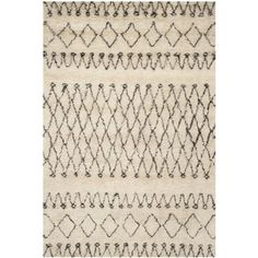 High Quality Safavieh Hand Tufted Casablanca White/ Black New Zealand Wool Rug (6u0027  Square) (CSB851A 6SQ), Ivory, Size 6u0027 X 6u0027