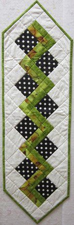 Quilters Corner VA: Green & Black with White Dot Table Runner $30.00