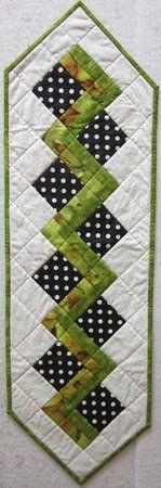 Quilters Corner VA: Green & Black with White Dot Table Runner $30.00