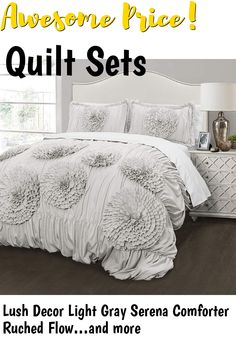 (This is an affiliate pin) Lush Decor Light Gray Serena Comforter Ruched Flower 3 Piece Set Full Queen