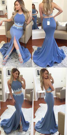 2018 prom dress, two piece long prom dress, mermaid long prom dress, blue long prom dress