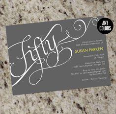 Milestone Birthday Invitation or Event Invitation - CALLIGRAPHY - Printable Design
