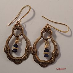 Beaded Earrings, Dangle Earrings, Bohemian Earrings, Navy Blue Jade Beads and Antique Gold Accents - Trending Womens Jewelry