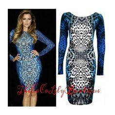 Blue Leopard Print Bodycon Dress