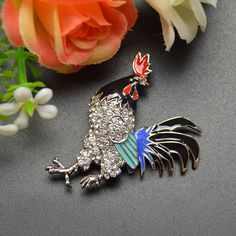 bb1496c04 new arrival 2016 2 colors choose rhinestone cock brooches for women rooster  brooch pins coat accessories