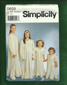 Simplicity 0659  Country Western Nightgowns for Girls Lace Trim and Ruffles Sizes 2 to 6x UNCUT