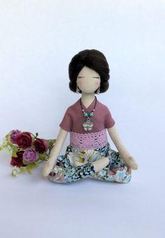 Custom doll Yoga doll Cloth doll Yoga small gift Soft sculpture Yogini rag doll Fabric collectible doll Textile doll Gift to friend to her by SashaMedovaya on Etsy https://www.etsy.com/listing/463861703/custom-doll-yoga-doll-cloth-doll-yoga