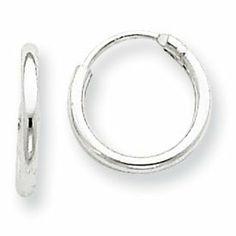 eede80137 Sterling Silver 1.3mm Childrens Endless Hoop Earrings (5/16