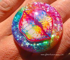 Rainbow Hearts Vintage 90's Lisa Frank Lips Resin by GlitterFusion