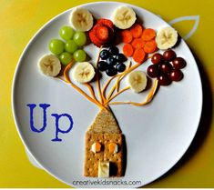 """""""Up!"""" fruit and cracker plate! -- too cute, and super healthy for your little one!  #snacks #fruit #food #kids #parenting #ebook #humor www.totlandiatheseries.com"""