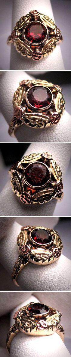 Antique Garnet Ring Vintage Victorian Deco Rose Gold