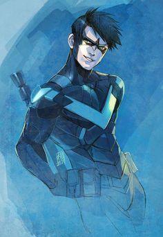 "ai-img: ""Nightwing the design of Arkham Knight. Robin Dc, Batman Robin, Comic Manga, Comic Art, Comic Book, Batman Art, Superman, Gotham City, Nightwing Wallpaper"