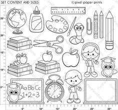 Back to school Digital Stamps Clipart line art