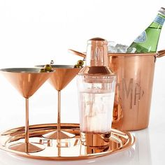 Copper cool: elevated design for the artisanal sipper or cocktail connoisseur, our copper barware makes a bold style statement. Made of faceted glass with copper accents, this Cocktail Shaker has a laser-engraved monogram to make it yours. Copper Tray, Copper Mugs, Copper Glass, Copper Decor, Copper Kitchen Decor, Kitchen Dining, Mark And Graham, Best Wedding Gifts, Modern Bar