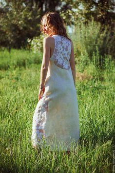 """Купить Платье """"Поле белых цветов"""" - белый, однотонный, летний сарафан, летнее платье"""