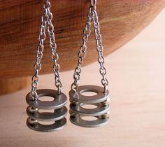 Dangle Drop Earrings Long Hardware Jewelry Industrial Eco Friendly Earrings. $12.00, via Etsy.