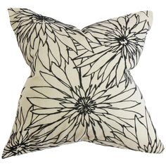 Phedora Floral Black White Feather Filled 18-inch Throw Pillow - Overstock Shopping - Great Deals on PILLOW COLLECTION INC Throw Pillows