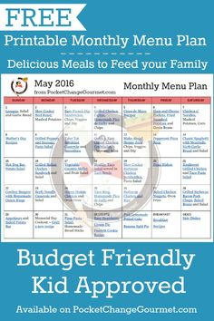 Delicious meals to feed your family in the Printable May Monthly Menu Plan! Budget friendly meal plan - Kid approved! Print out your FREE copy today!                                                                                                                                                                                 More