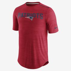 REPRESENT YOUR TEAM The Nike Player (NFL Patriots) Men's Training Top helps keep you cool during your workout. Benefits Dri-FIT technology helps keep you dry and comfortable Mesh panels enhance breathability Ergonomic seams allow natural movement Flat seams move smoothly against your skin Curved hem enhances coverage Product Details Fabric: Dri-FIT 100% polyester Machine wash Imported