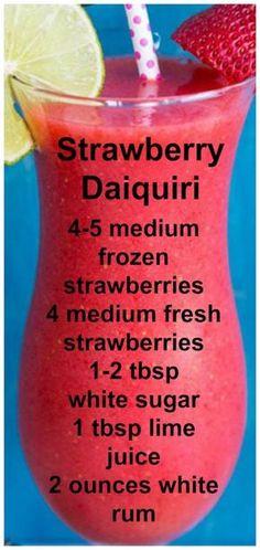 Strawberry Daiquiri ~ Easy, Fresh and delcious. Strawberry Daiquiri ~ Easy, Fresh and delcious. – Cocktails and Pretty Drinks Refreshing Drinks, Yummy Drinks, Healthy Drinks, Food And Drinks, Dessert Drinks, Healthy Nutrition, Healthy Food, Healthy Eating, Liquor Drinks