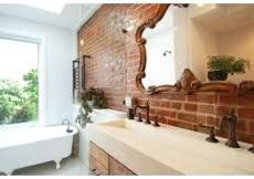 Exposed Brick Bathroom Design Ideas, Pictures, Remodel and Decor Brick Bathroom, Bathroom Sink Design, Bathroom Styling, Bathroom Designs, Bathroom Wall, Bathroom Heater, White Bathroom, Bathroom Ideas, Eclectic Bathroom