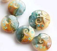 Beachy blue and golden beige Lampwork glass beads  by MayaHoney