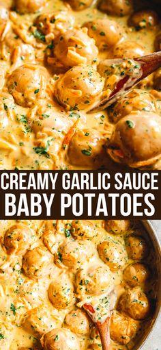 Potato Sides, Potato Side Dishes, Veggie Dishes, Vegetable Recipes, White Garlic Sauce, Creamy Garlic Sauce, Garlic Sauce Recipes, Creamy Chicken Pasta, Chicken Pasta Bake