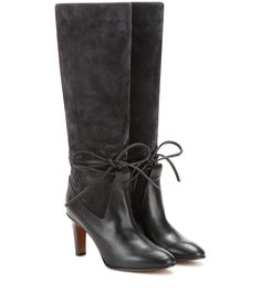 CHLOÉ Suede And Leather Knee Boots. #chloé #shoes #boots