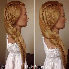 braided waterfalls into fishtail braid