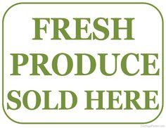 Printable Fresh Produce For Sale Sign