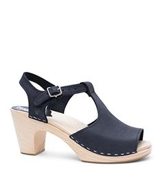 2702309537ba  139.3 - Sandgrens Swedish High Rise Heel Wood Clog Sandals Women