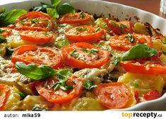 Gratinované brambory s rajčaty a žampiony recept - TopRecepty.cz Thai Red Curry, Food And Drink, Stuffed Peppers, Treats, Chicken, Dinner, Vegetables, Ethnic Recipes, Foods