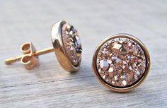 Earrings Druzy Rose Gold van TheSouthernCharmFL op Etsy