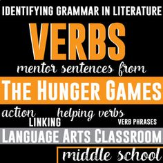 Verbs and Verb Phrases: Mentor Sentences in The Hunger Games. Find and analyze verbs from The Hunger Games!